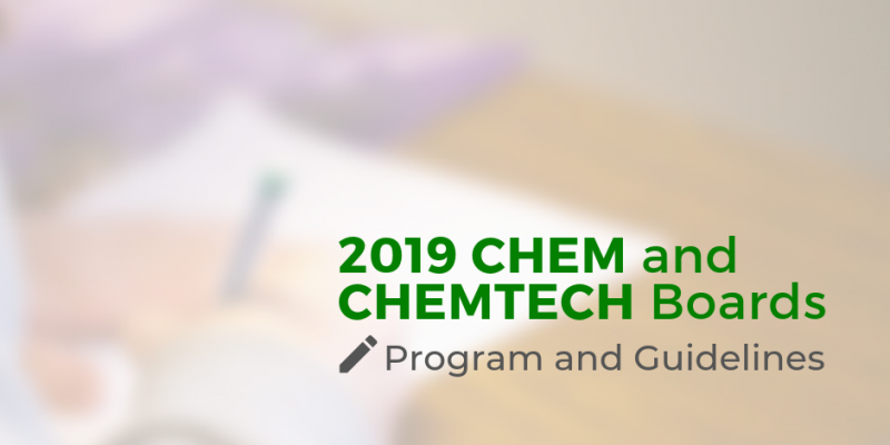 Program And Guidelines For The 2019 Chemist And Chemical Technician Licensure Exams