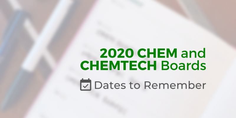 Important Dates To Remember For The 2020 Chemist And Chemical Technician Board Exams